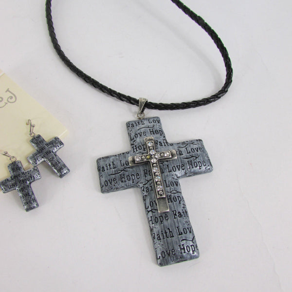 Rope Silver Love Hope Faith Large Cross Pendant Necklace Earring Set New Women Accessories