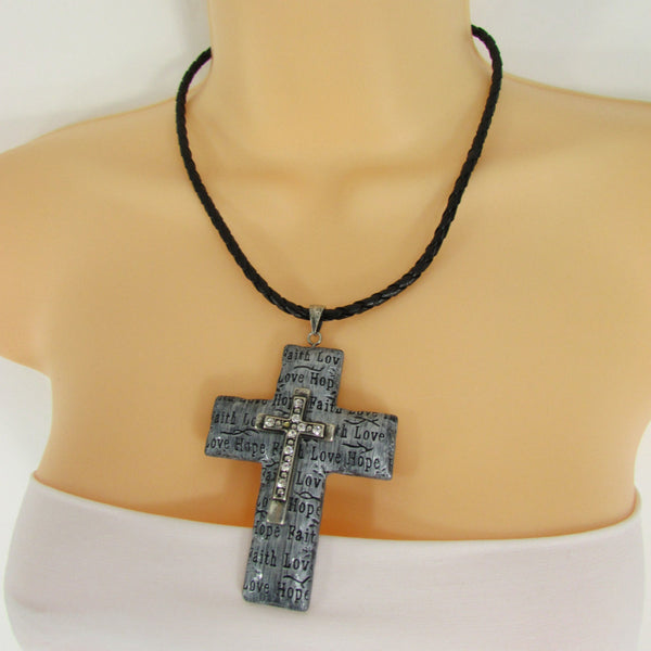 Love Hope Faith Large Silver Cross Pendant Necklace + Earring Set New Women Fashion - alwaystyle4you - 4