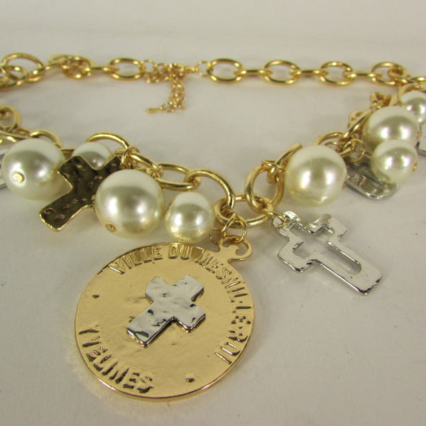 Gold Metal Chains Necklace Coin Cross Charms Imitation Pearls beads New Women Fashion - alwaystyle4you - 5