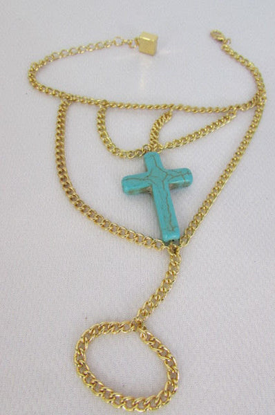 New Women Gold Metal Hand Chain Slave Ring Fashion Bracelet Turquoise Blue Cross - alwaystyle4you - 2