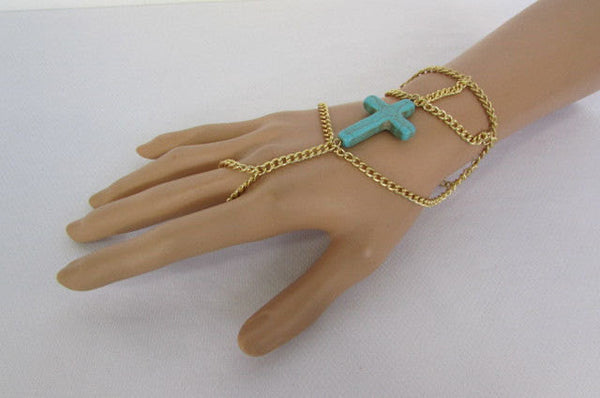 New Women Gold Metal Hand Chain Slave Ring Fashion Bracelet Turquoise Blue Cross - alwaystyle4you - 3