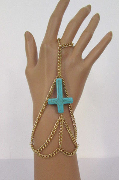 Gold Metal Hand Chains Slave Ring Bracelet Turquoise Blue Cross New Women Fashion Accessories
