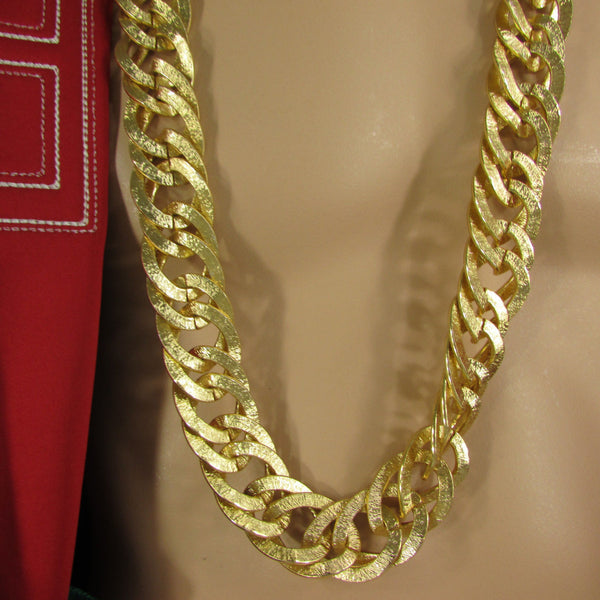 Gold Metal Chain Links Extra Long Necklace New Men Chunky Gangster Hip Hop Biker Fashion - alwaystyle4you - 2