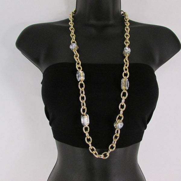 Metal Chain Links Large Rhinestones Extra Long Necklace Earrings Set New Women Accessories