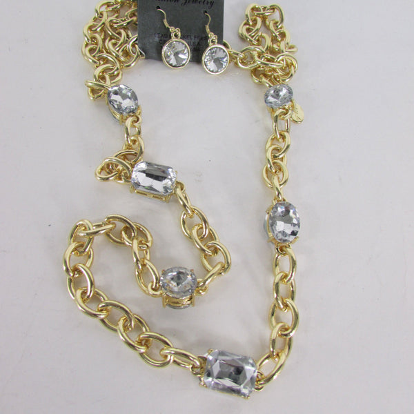 Extra Long Gold Metal Chain Links Large Rhinestones Necklace + Earrings Set New Women Fashion - alwaystyle4you - 5
