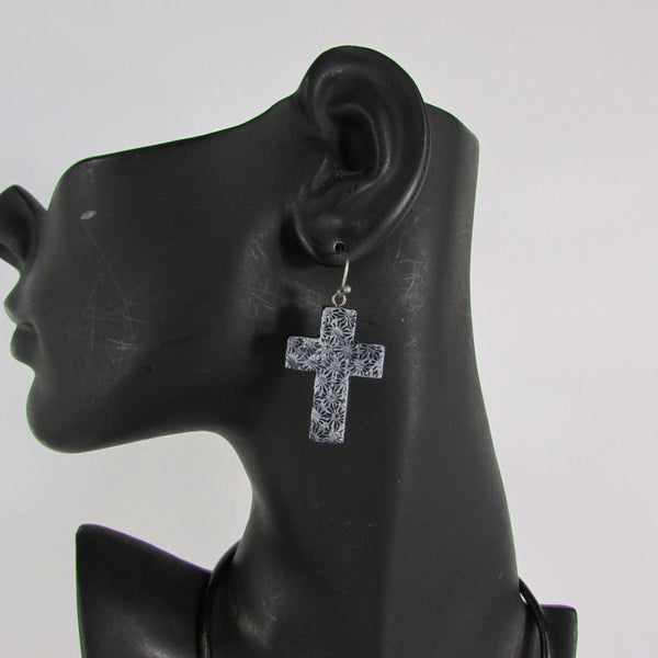 Faith Large 3D Metallic Black Cross Pendant Necklace + Earring Set New Women Fashion - alwaystyle4you - 5
