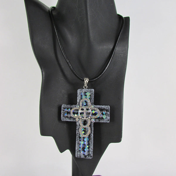 Faith Large 3D Metallic Black Cross Pendant Necklace + Earring Set New Women Fashion - alwaystyle4you - 4