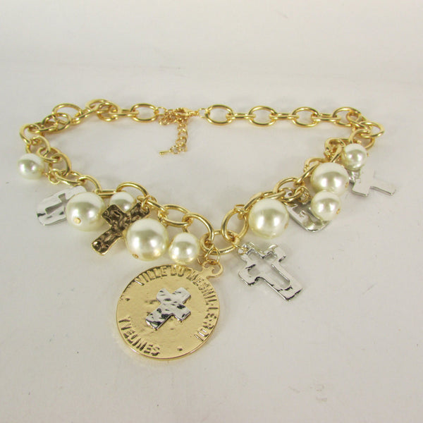 Gold Metal Chains Necklace Coin Cross Charms Imitation Pearls beads New Women Fashion - alwaystyle4you - 3