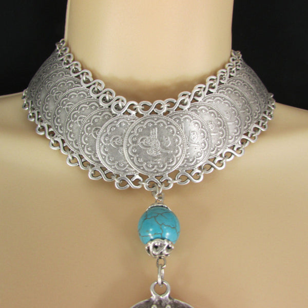 New Women Extra Long Silver Metal Chains Fashion Choker Necklace Turquoise Ball - alwaystyle4you - 2