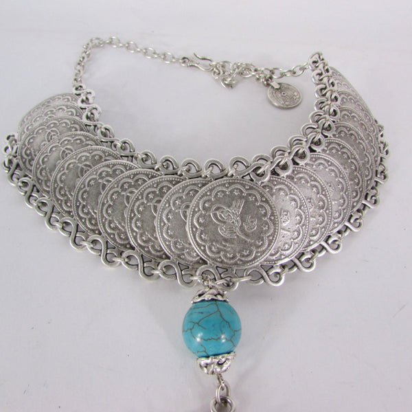 New Women Extra Long Silver Metal Chains Fashion Choker Necklace Turquoise Ball - alwaystyle4you - 5