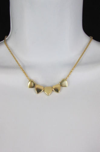 New Women Gold Thin Metal Chain Fashion Necklace Five Mini Hearts Long Pendant - alwaystyle4you - 4