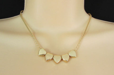 New Women Gold Thin Metal Chain Fashion Necklace Five Mini Hearts Long Pendant - alwaystyle4you - 1