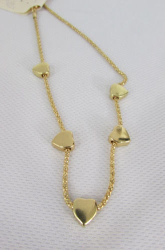 New Women Gold Thin Metal Chain Fashion Necklace Five Mini Hearts Long Pendant - alwaystyle4you - 5