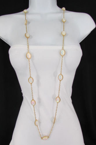 "Extra Long Gold Chains Shiny Cream Beads Fashion Necklace + Earrings Set New Women 26"" - alwaystyle4you - 1"