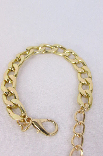 Gold Metal Chain Links Bracelet Classic Thick Chunky New Women Fashion Jewelry Accessories