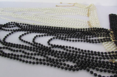 Black / White Metal Beads Extra Long 8 Strands Choker Necklace New Women Fashion - alwaystyle4you - 5