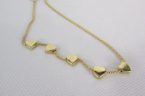 New Women Gold Thin Metal Chain Fashion Necklace Five Mini Hearts Long Pendant - alwaystyle4you - 2