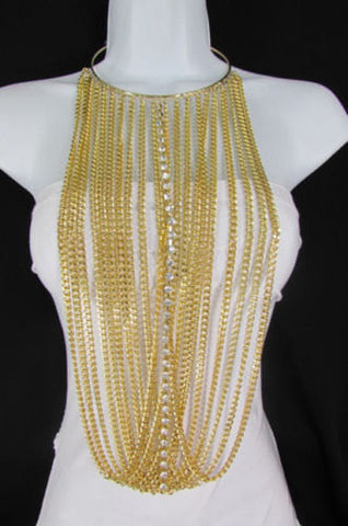 Gold Metal Choker Extra Long Chains Statement Necklace Hot Rhinestones New Women Fashion - alwaystyle4you - 1