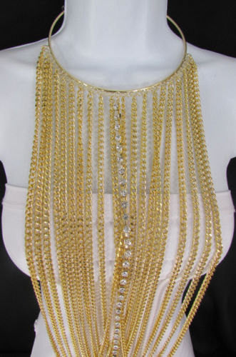 Gold Metal Choker Extra Long Chains Statement Necklace Hot Rhinestones New Women Fashion - alwaystyle4you - 3