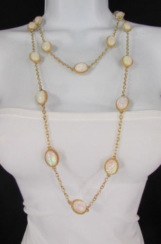 "Extra Long Gold Chains Shiny Cream Beads Fashion Necklace + Earrings Set New Women 26"" - alwaystyle4you - 2"
