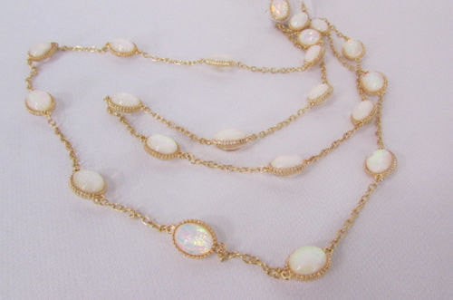 "Extra Long Gold Chains Shiny Cream Beads Fashion Necklace + Earrings Set New Women 26"" - alwaystyle4you - 3"