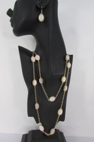"Extra Long Gold Chains Shiny Cream Beads Fashion Necklace + Earrings Set New Women 26"" - alwaystyle4you - 4"
