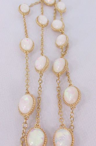 "Extra Long Gold Chains Shiny Cream Beads Fashion Necklace + Earrings Set New Women 26"" - alwaystyle4you - 5"