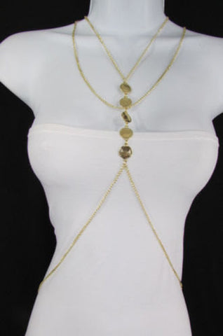 New Women Gold Body Chain Classic Circles Long Necklace Sexy Fashion Jewelry - alwaystyle4you - 1