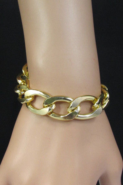 Gold Metal Chain Links Bracelet Classic Thick Chunky New Women Fashion Jewelry Accessories - alwaystyle4you - 1