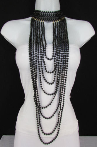 Black / White Metal Beads Extra Long 8 Strands Choker Necklace New Women Fashion - alwaystyle4you - 1
