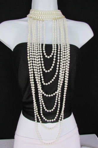 Black / White Metal Beads Extra Long 8 Strands Choker Necklace New Women Fashion - alwaystyle4you - 2