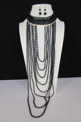 Black / White Metal Beads Extra Long 8 Strands Choker Necklace New Women Fashion - alwaystyle4you - 4