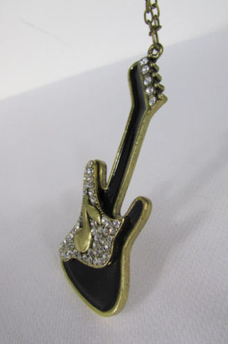 New Women Gold Metal Chains Music Black Electric Guitar Fashion Necklace Pendant - alwaystyle4you - 2