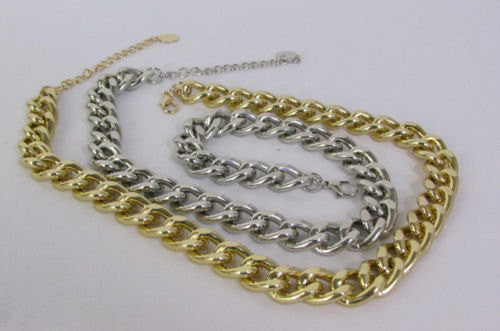 Gold / Silver Chunky Metal Thick Chain Links Hip Hop Necklace +Earring Set New Women Fashion - alwaystyle4you - 4