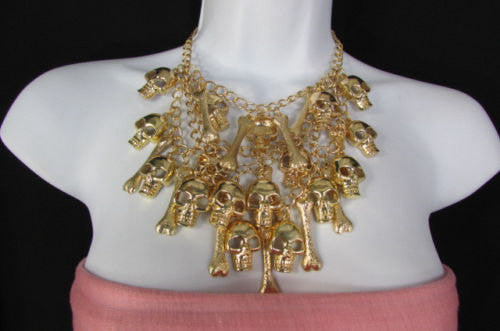 Gold Chains Skulls Strands Skeleton Bones Necklace + Earrings Set New Women Fashion - alwaystyle4you - 5