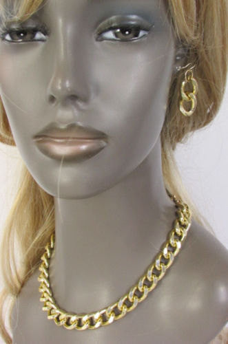 Gold Silver Metal Chain Links Hip Hop Chunky Thick Necklace Earring Set Women Accessories