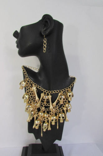 Gold Chains Skulls Strands Skeleton Bones Necklace + Earrings Set New Women Fashion - alwaystyle4you - 2