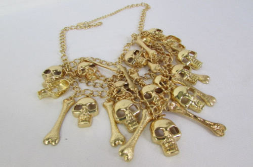 Gold Chains Skulls Strands Skeleton Bones Necklace + Earrings Set New Women Fashion - alwaystyle4you - 4