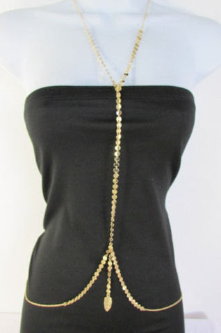 Women Chic Gold Long Body Chain Front Fringes Hip Sides Fashion Necklace Jewelry