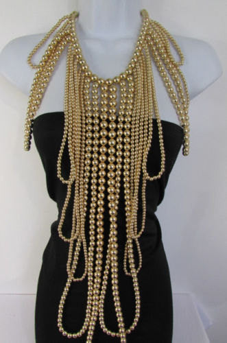 "Gold Multi Ball Beads 30"" Extra Long Unique Statement Necklace + Earrings Set  New Women Fashion - alwaystyle4you - 1"