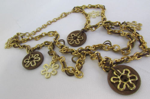 New Women Gold Metal Chains Flowers Fashion Necklace Round Brown Wood Charms - alwaystyle4you - 3