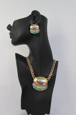 Gold Metal Chain Necklace Hamburger Pendant + Earrings Set New Women Hip Hop Fashion - alwaystyle4you - 1