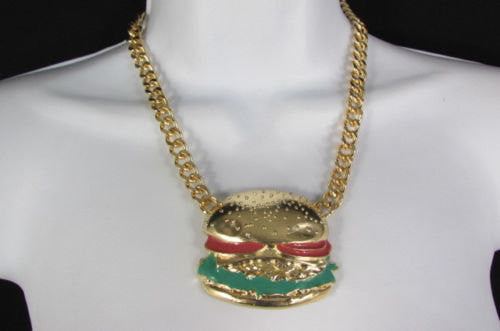 Gold Metal Chain Necklace Hamburger Pendant + Earrings Set New Women Hip Hop Fashion - alwaystyle4you - 3