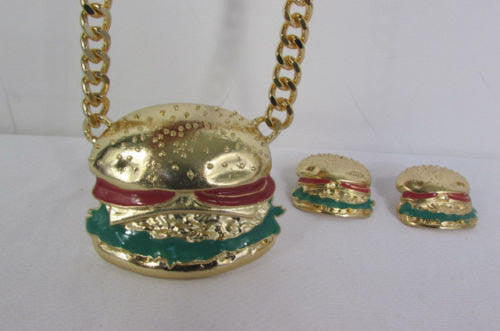 Gold Metal Chain Necklace Hamburger Pendant + Earrings Set New Women Hip Hop Fashion - alwaystyle4you - 2