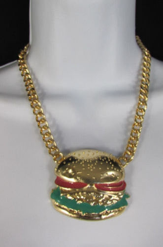 Gold Metal Chain Hamburger Pendant Hip Hop Necklace Earrings Set New Women Fashion Accessories