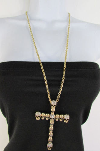 New Women Fashion Necklace Metal Mini Skulls Big Cross Silver / Gold Rhinestones - alwaystyle4you - 1
