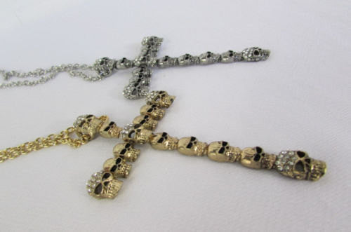 New Women Fashion Necklace Metal Mini Skulls Big Cross Silver / Gold Rhinestones - alwaystyle4you - 3