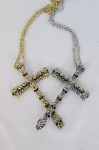 New Women Fashion Necklace Metal Mini Skulls Big Cross Silver / Gold Rhinestones - alwaystyle4you - 5