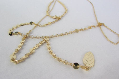 Gold Metal Body Chain Classic Thin Leaf Long Necklace New Women Fashion Jewwlry Accessories