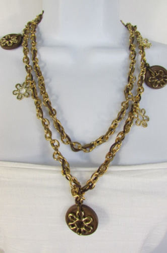 Gold Metal Chains Flowers Round Brown Wood Charms Necklace New Women Fashion Accessories